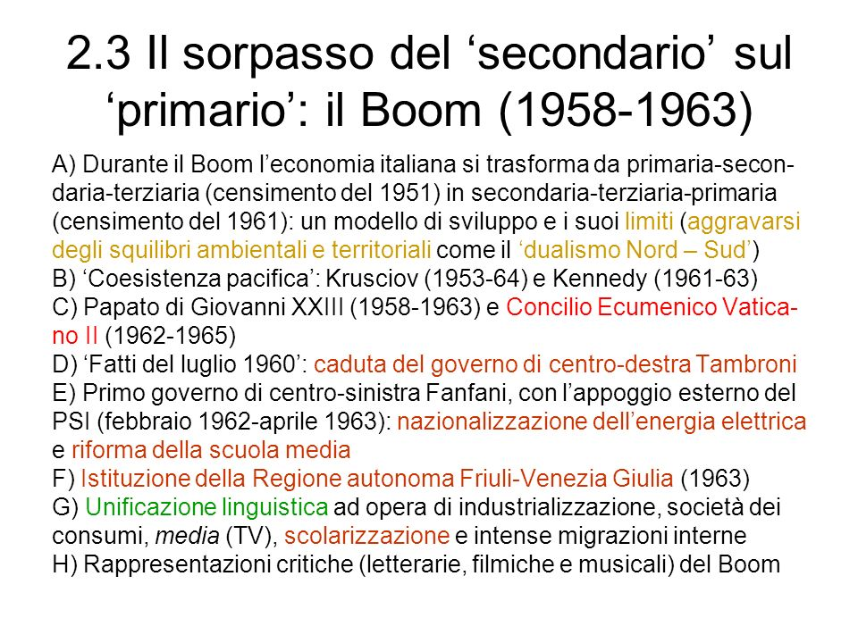 2.3 Il sorpasso del 'secondario' sul 'primario': il Boom (1958-1963)