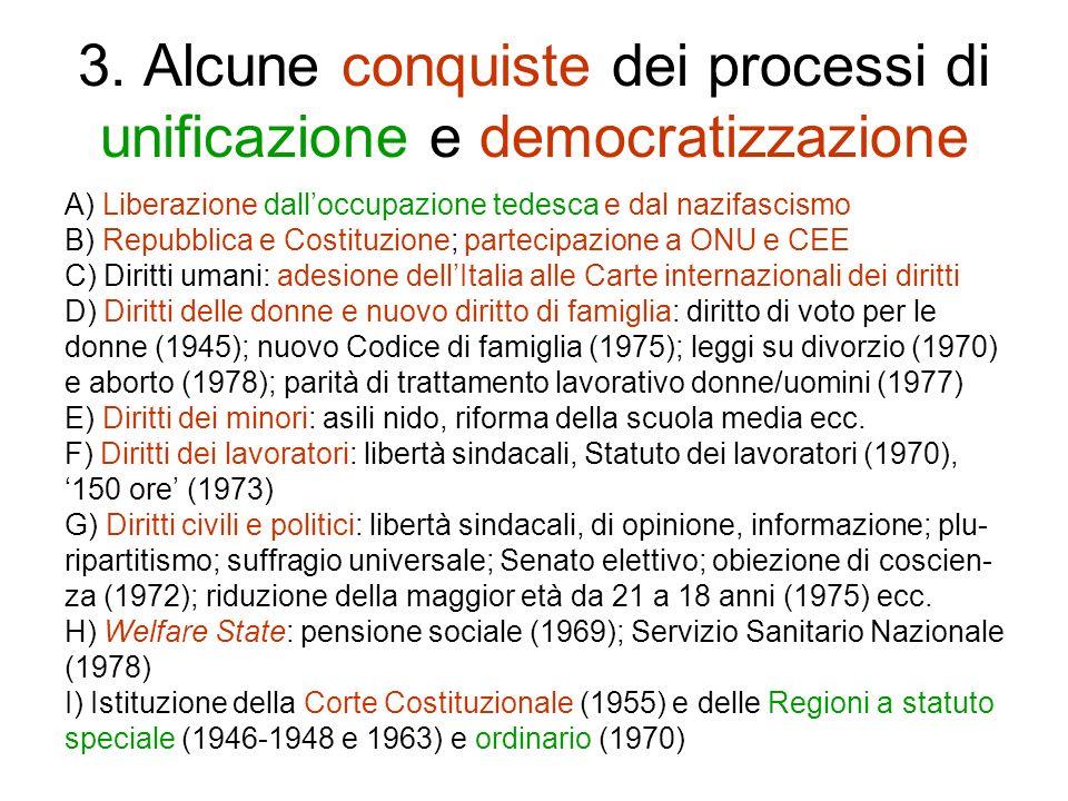 3. Alcune conquiste dei processi di unificazione e democratizzazione