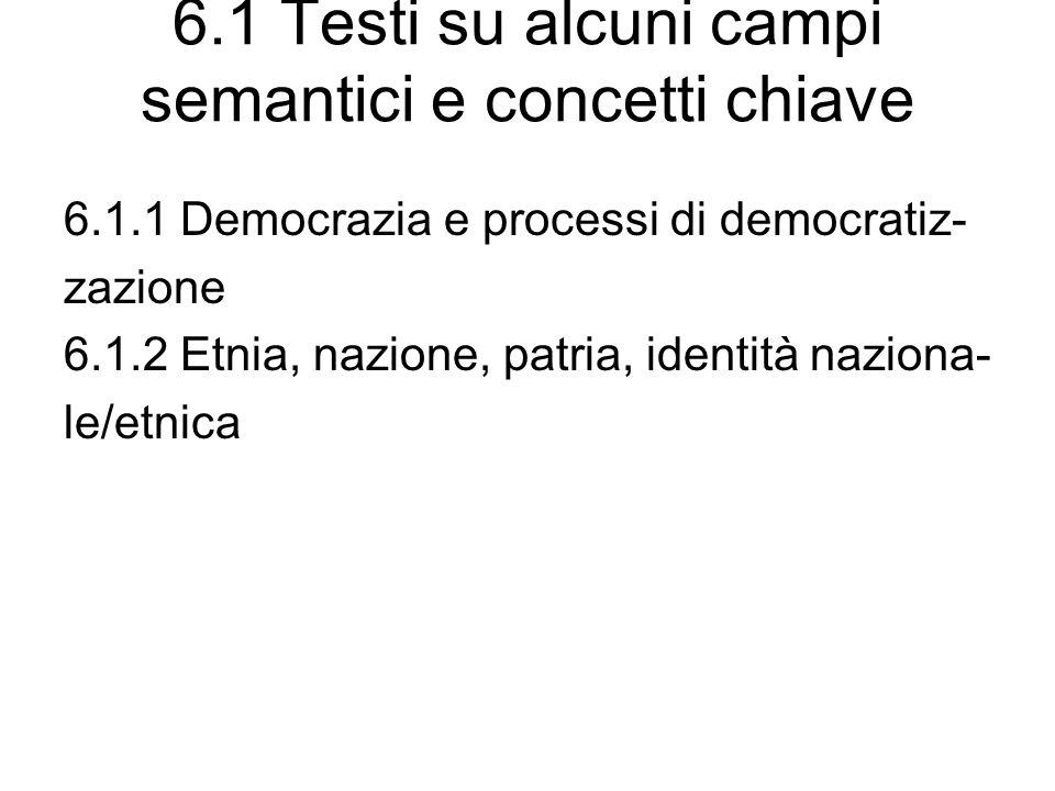 6.1 Testi su alcuni campi semantici e concetti chiave