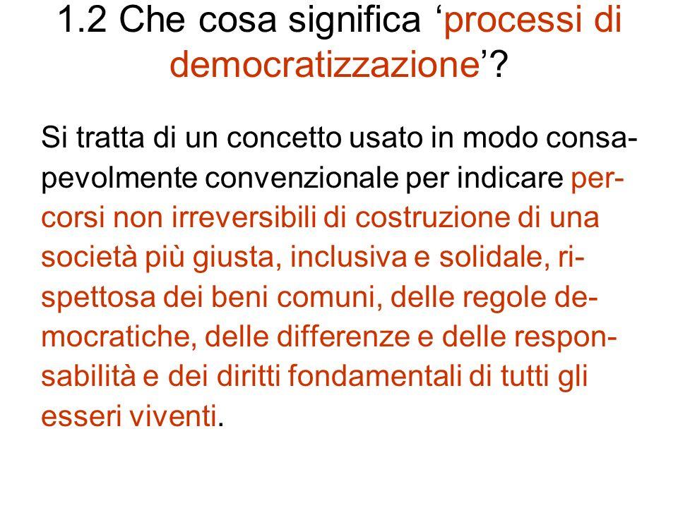 1.2 Che cosa significa 'processi di democratizzazione'
