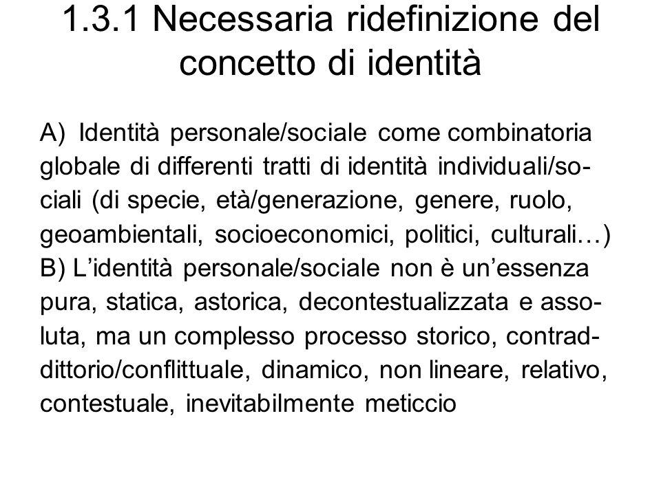 1.3.1 Necessaria ridefinizione del concetto di identità