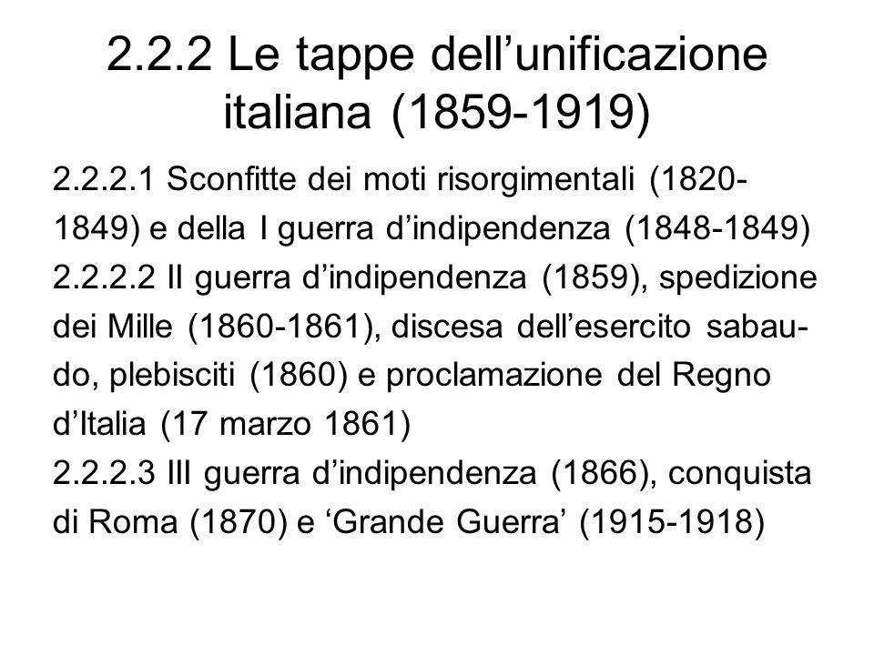 2.2.2 Le tappe dell'unificazione italiana (1859-1919)