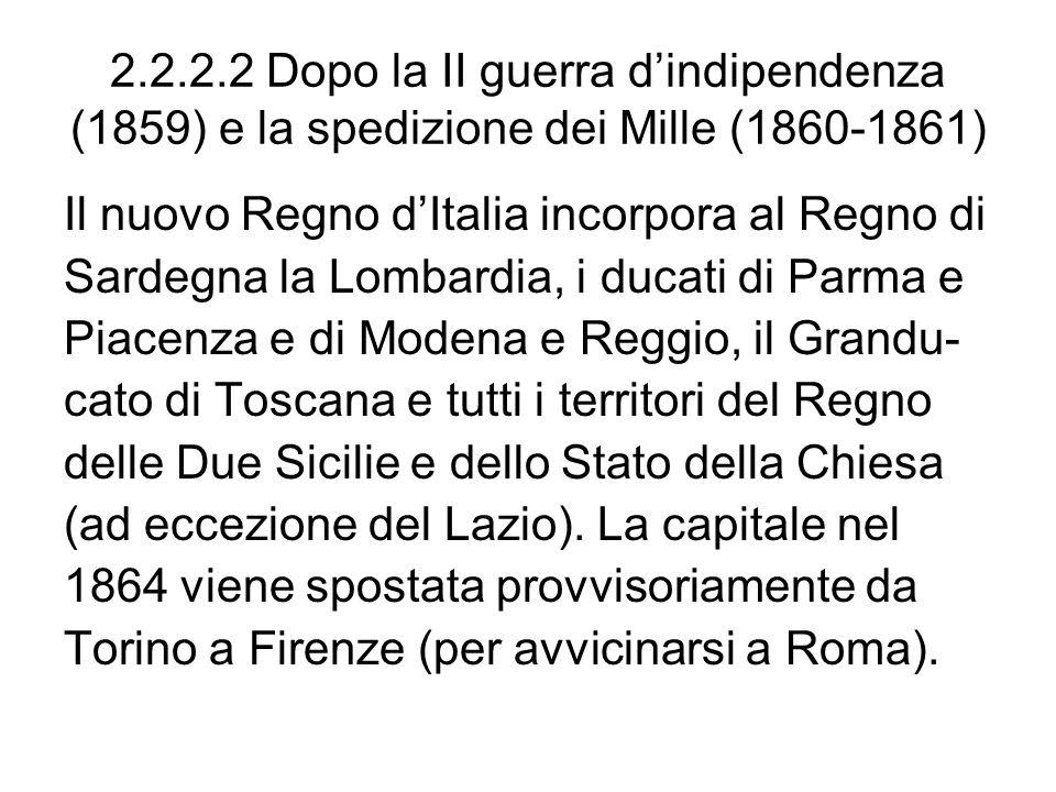 2.2.2.2 Dopo la II guerra d'indipendenza (1859) e la spedizione dei Mille (1860-1861)
