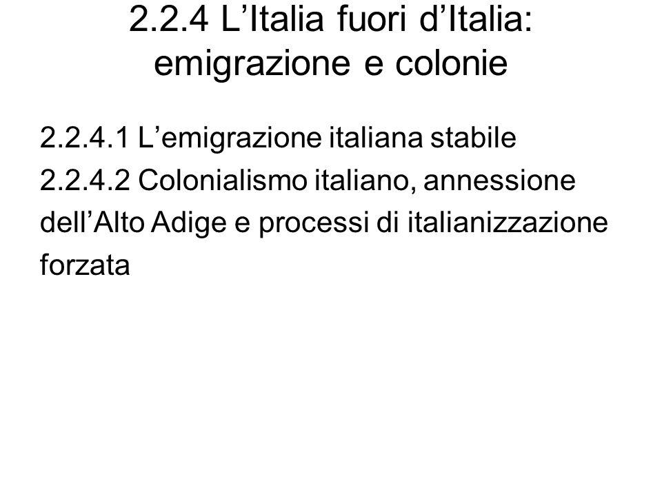 2.2.4 L'Italia fuori d'Italia: emigrazione e colonie