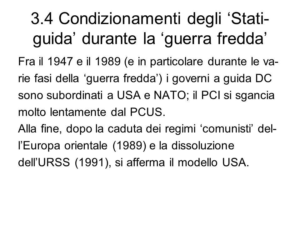 3.4 Condizionamenti degli 'Stati-guida' durante la 'guerra fredda'
