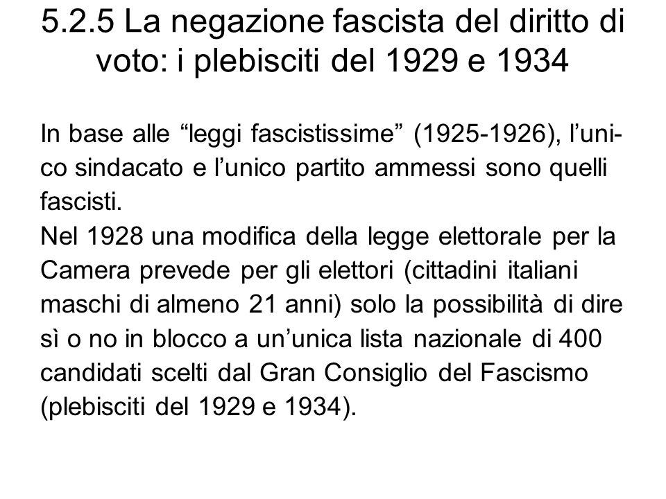 5.2.5 La negazione fascista del diritto di voto: i plebisciti del 1929 e 1934