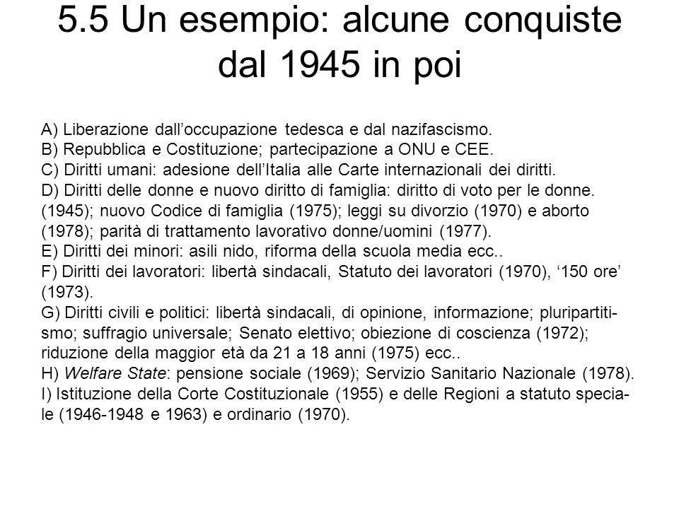 5.5 Un esempio: alcune conquiste dal 1945 in poi