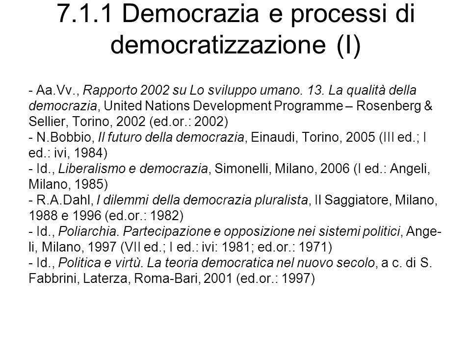 7.1.1 Democrazia e processi di democratizzazione (I)