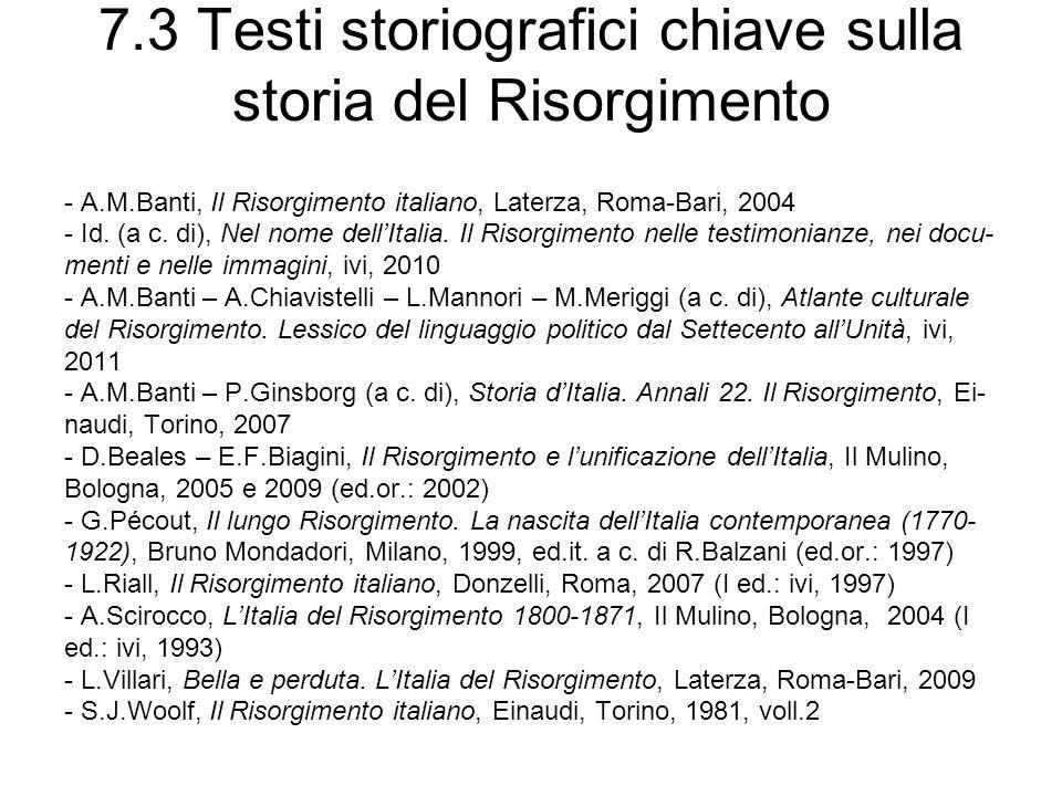 7.3 Testi storiografici chiave sulla storia del Risorgimento