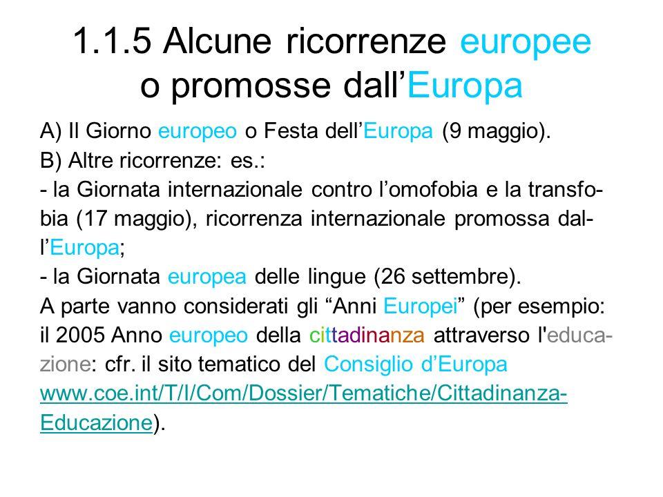 1.1.5 Alcune ricorrenze europee o promosse dall'Europa
