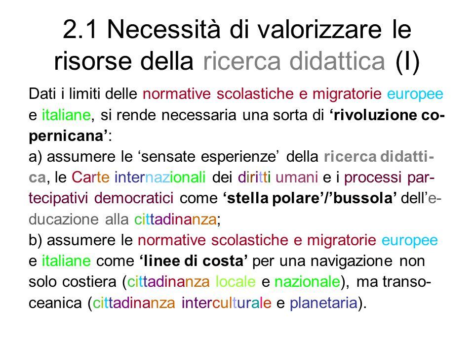 2.1 Necessità di valorizzare le risorse della ricerca didattica (I)
