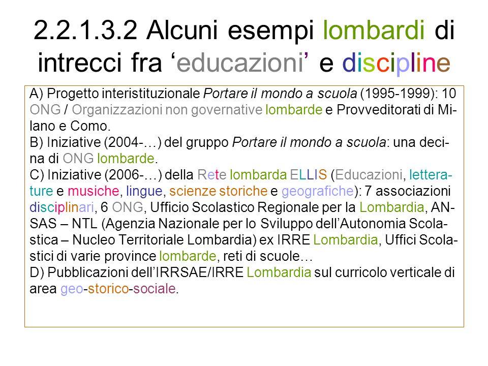2.2.1.3.2 Alcuni esempi lombardi di intrecci fra 'educazioni' e discipline