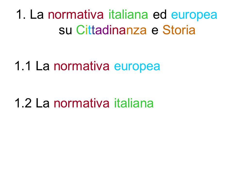 1. La normativa italiana ed europea su Cittadinanza e Storia