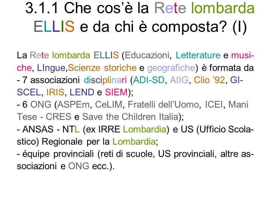 3.1.1 Che cos'è la Rete lombarda ELLIS e da chi è composta (I)