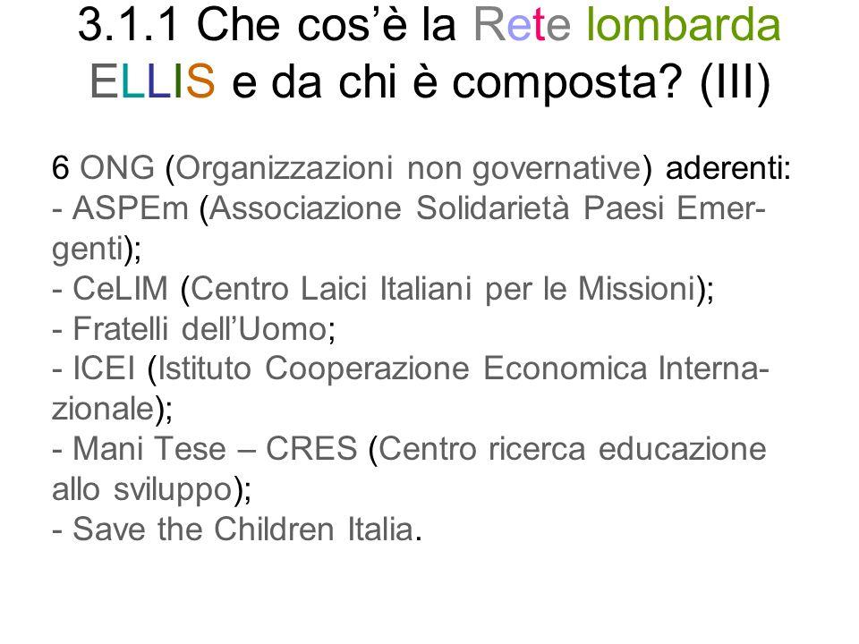 3.1.1 Che cos'è la Rete lombarda ELLIS e da chi è composta (III)