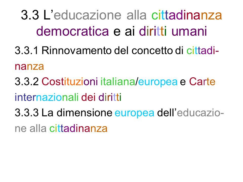 3.3 L'educazione alla cittadinanza democratica e ai diritti umani
