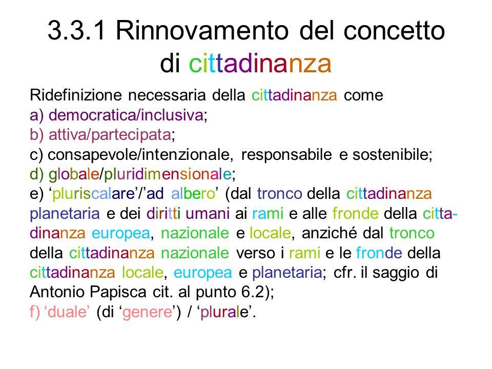 3.3.1 Rinnovamento del concetto di cittadinanza