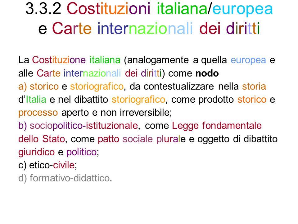 3.3.2 Costituzioni italiana/europea e Carte internazionali dei diritti
