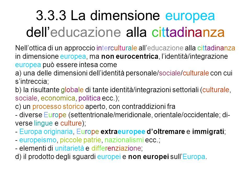 3.3.3 La dimensione europea dell'educazione alla cittadinanza