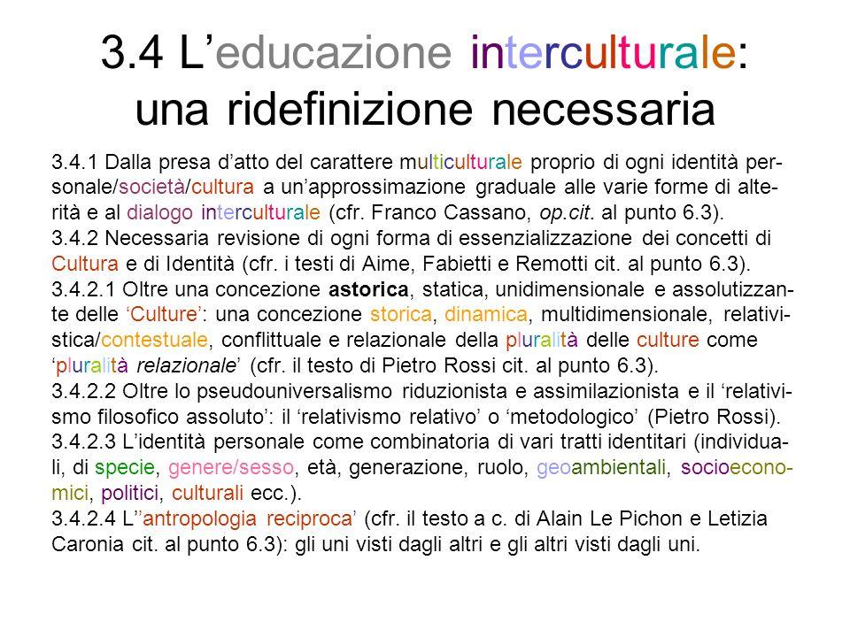 3.4 L'educazione interculturale: una ridefinizione necessaria