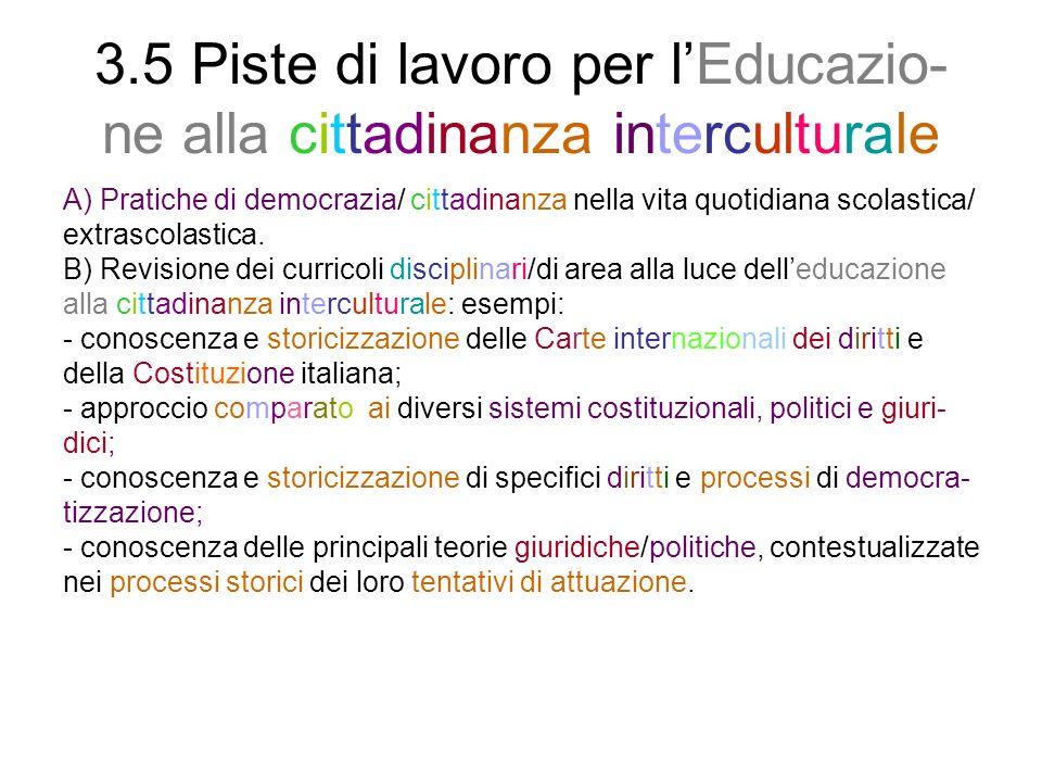 3.5 Piste di lavoro per l'Educazio-ne alla cittadinanza interculturale