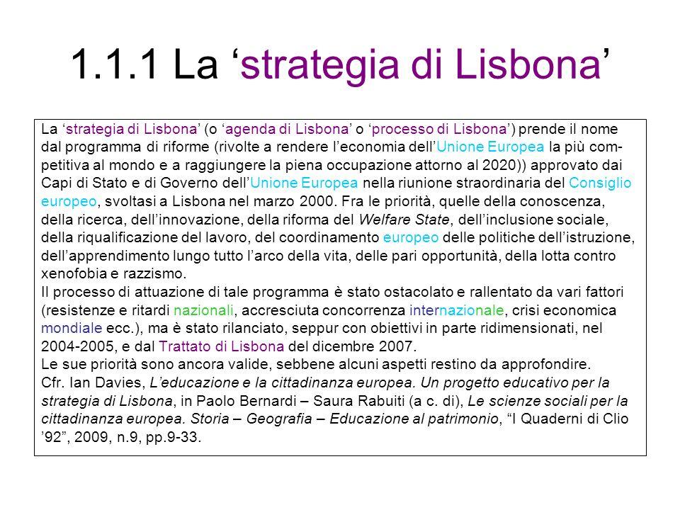 1.1.1 La 'strategia di Lisbona'