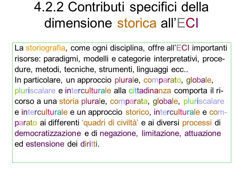 4.2.2 Contributi specifici della dimensione storica all'ECI