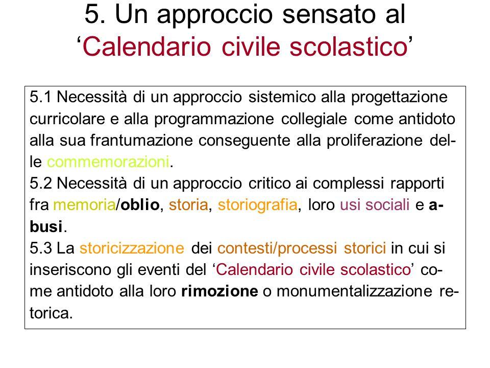 5. Un approccio sensato al 'Calendario civile scolastico'