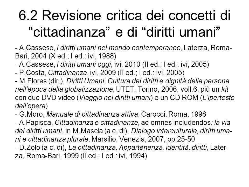 6.2 Revisione critica dei concetti di cittadinanza e di diritti umani
