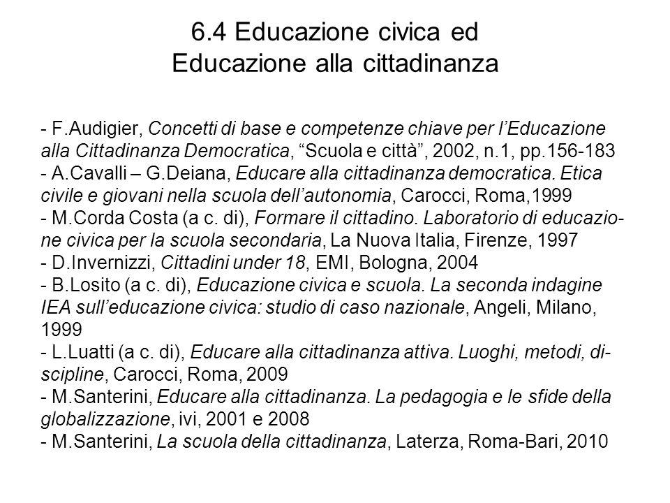 6.4 Educazione civica ed Educazione alla cittadinanza