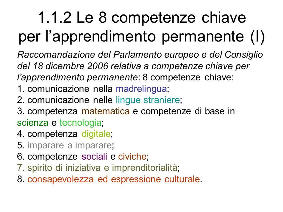 1.1.2 Le 8 competenze chiave per l'apprendimento permanente (I)