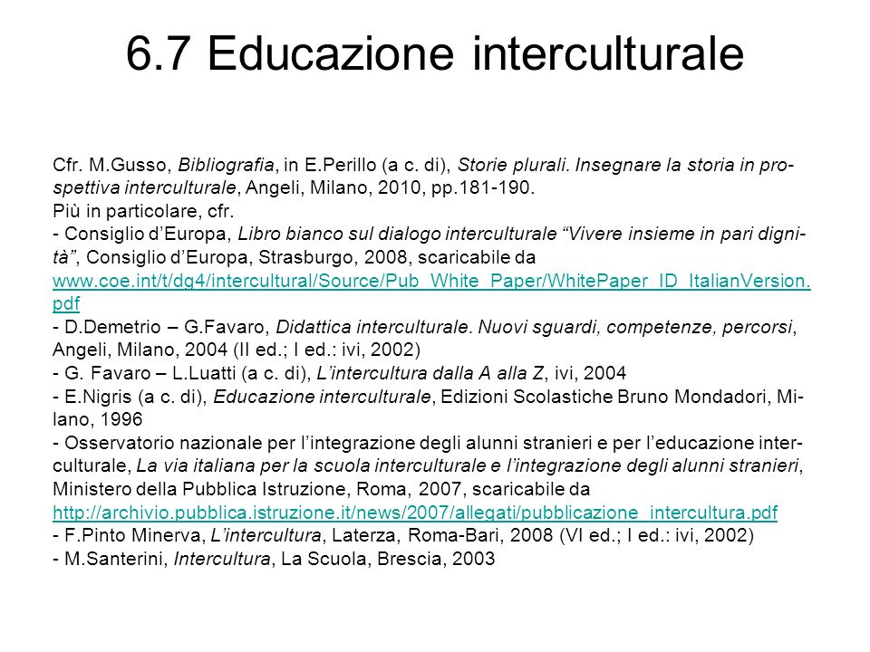 6.7 Educazione interculturale