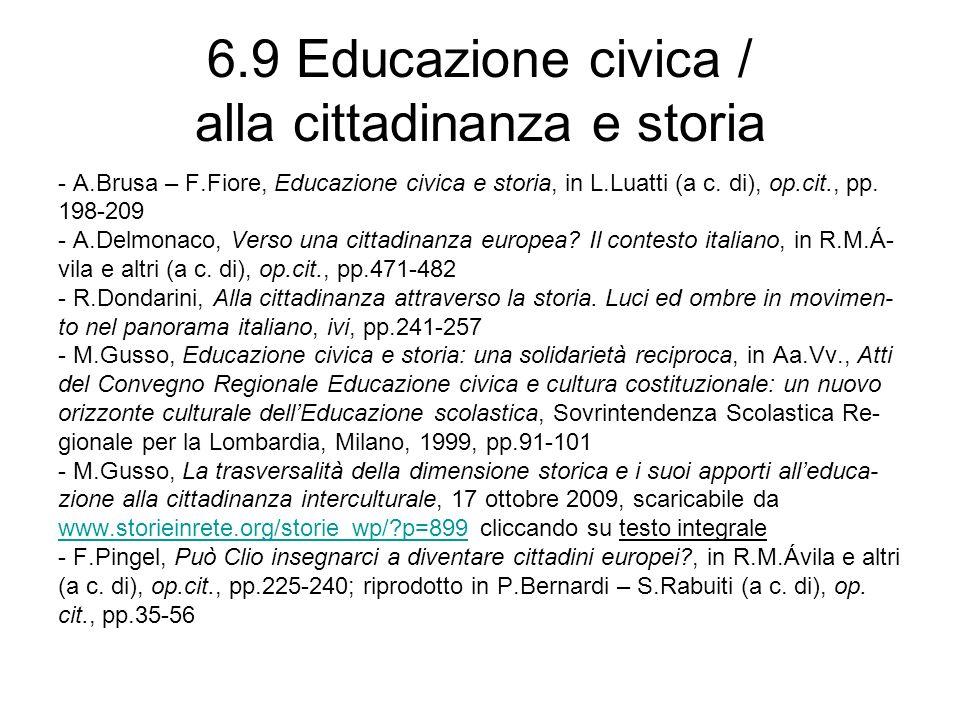 6.9 Educazione civica / alla cittadinanza e storia
