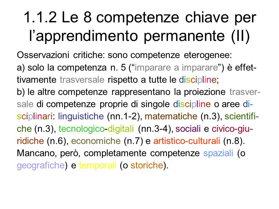 1.1.2 Le 8 competenze chiave per l'apprendimento permanente (II)