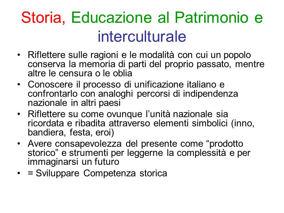 Storia, Educazione al Patrimonio e interculturale