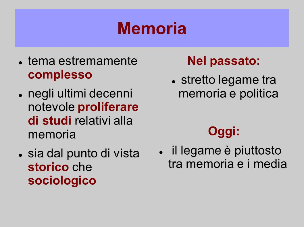stretto legame tra memoria e politica