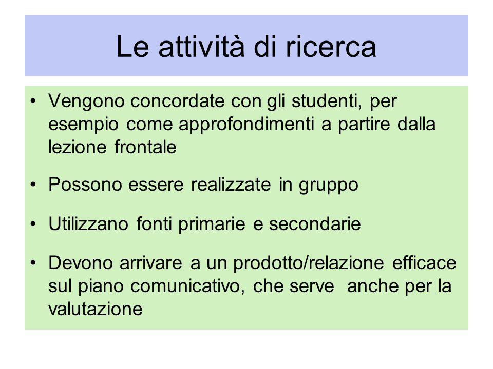 Le attività di ricerca Vengono concordate con gli studenti, per esempio come approfondimenti a partire dalla lezione frontale.