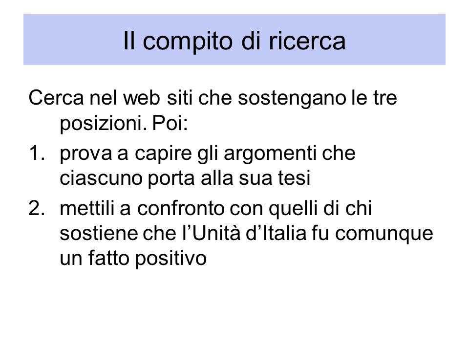 Il compito di ricerca Cerca nel web siti che sostengano le tre posizioni. Poi: prova a capire gli argomenti che ciascuno porta alla sua tesi.