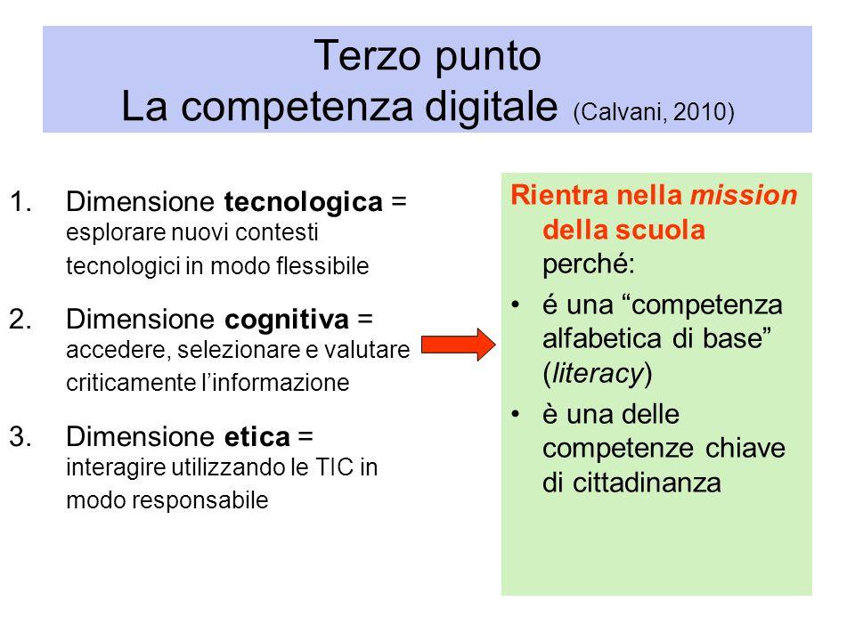 Terzo punto La competenza digitale (Calvani, 2010)