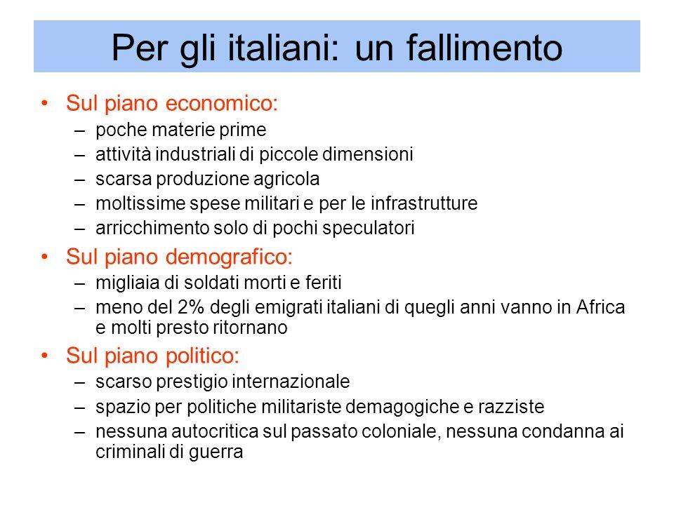 Per gli italiani: un fallimento
