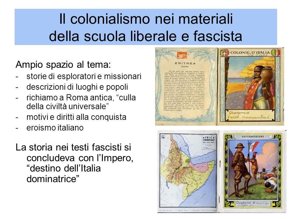 Il colonialismo nei materiali della scuola liberale e fascista