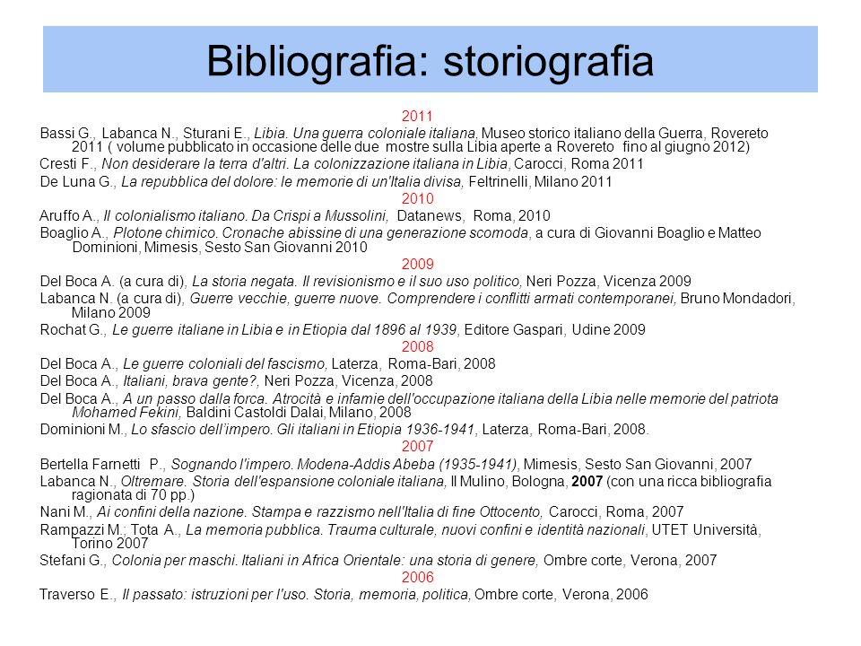 Bibliografia: storiografia