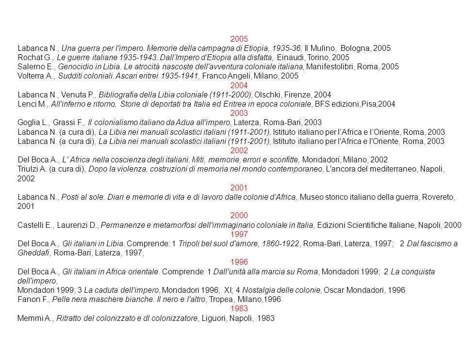 2005 Labanca N., Una guerra per l impero. Memorie della campagna di Etiopia, 1935-36, Il Mulino, Bologna, 2005.