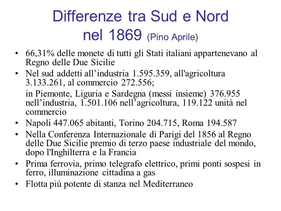 Differenze tra Sud e Nord nel 1869 (Pino Aprile)