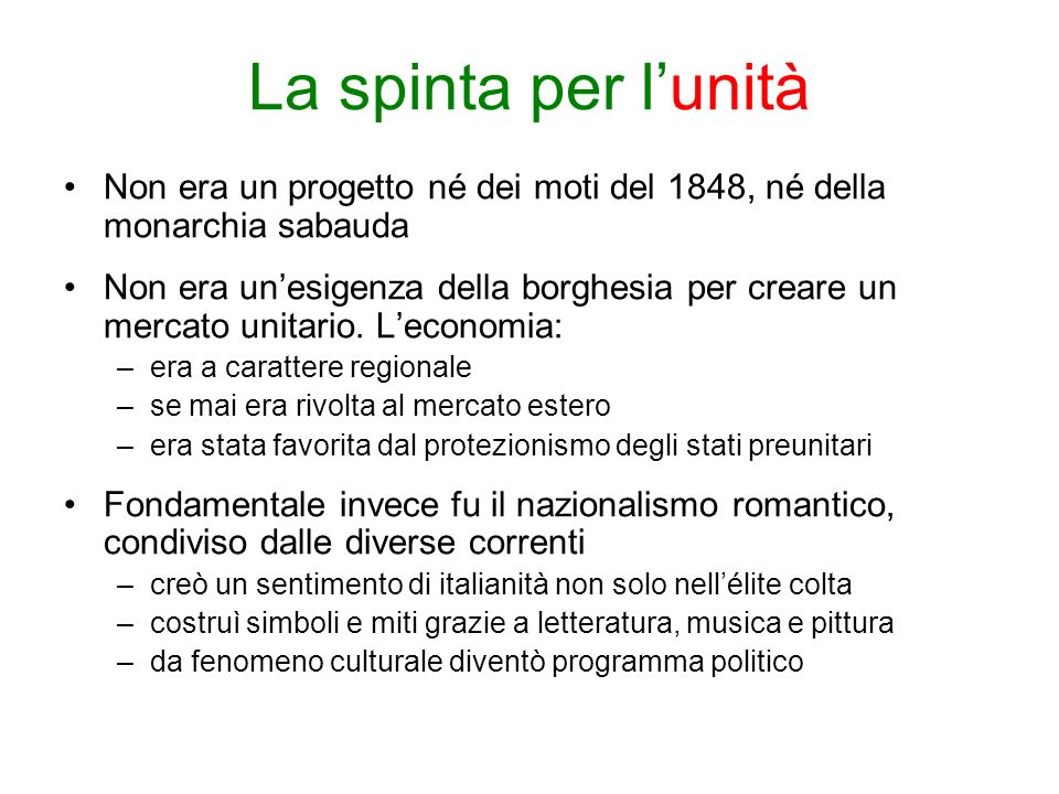 La spinta per l'unità Non era un progetto né dei moti del 1848, né della monarchia sabauda.
