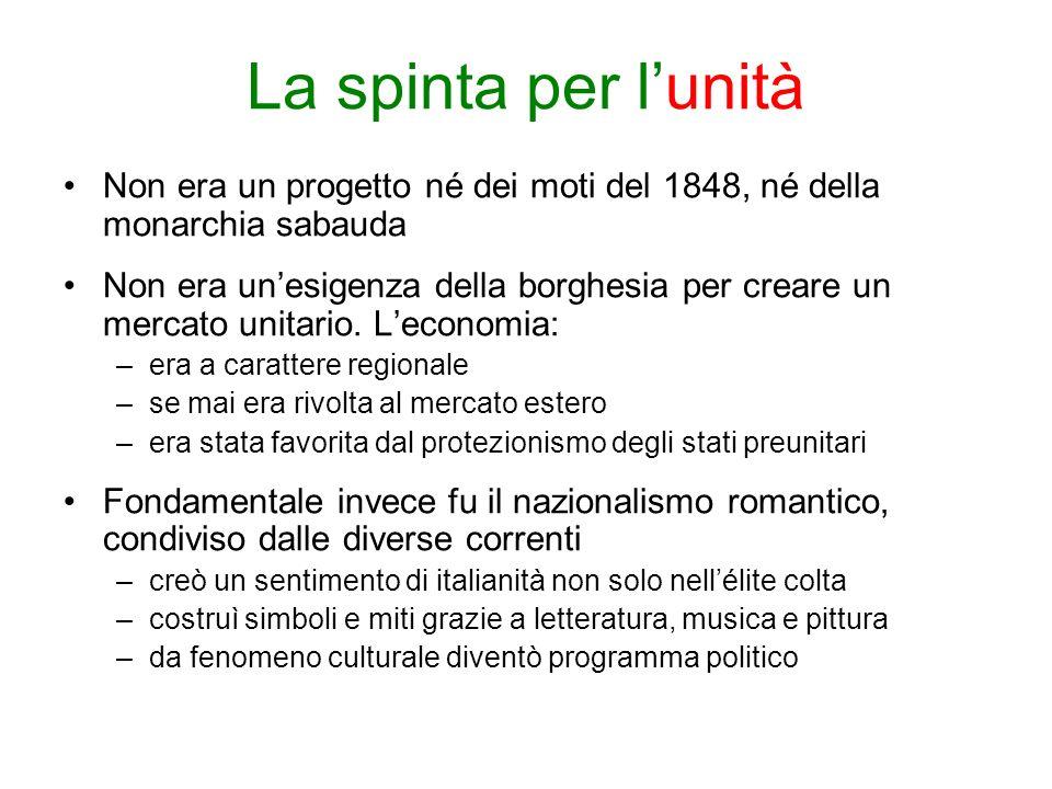 La spinta per l'unitàNon era un progetto né dei moti del 1848, né della monarchia sabauda.