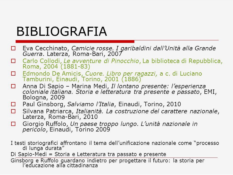 BIBLIOGRAFIA Eva Cecchinato, Camicie rosse. I garibaldini dall'Unità alla Grande Guerra. Laterza, Roma-Bari, 2007.