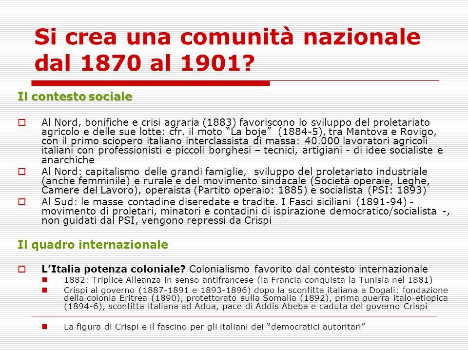 Si crea una comunità nazionale dal 1870 al 1901