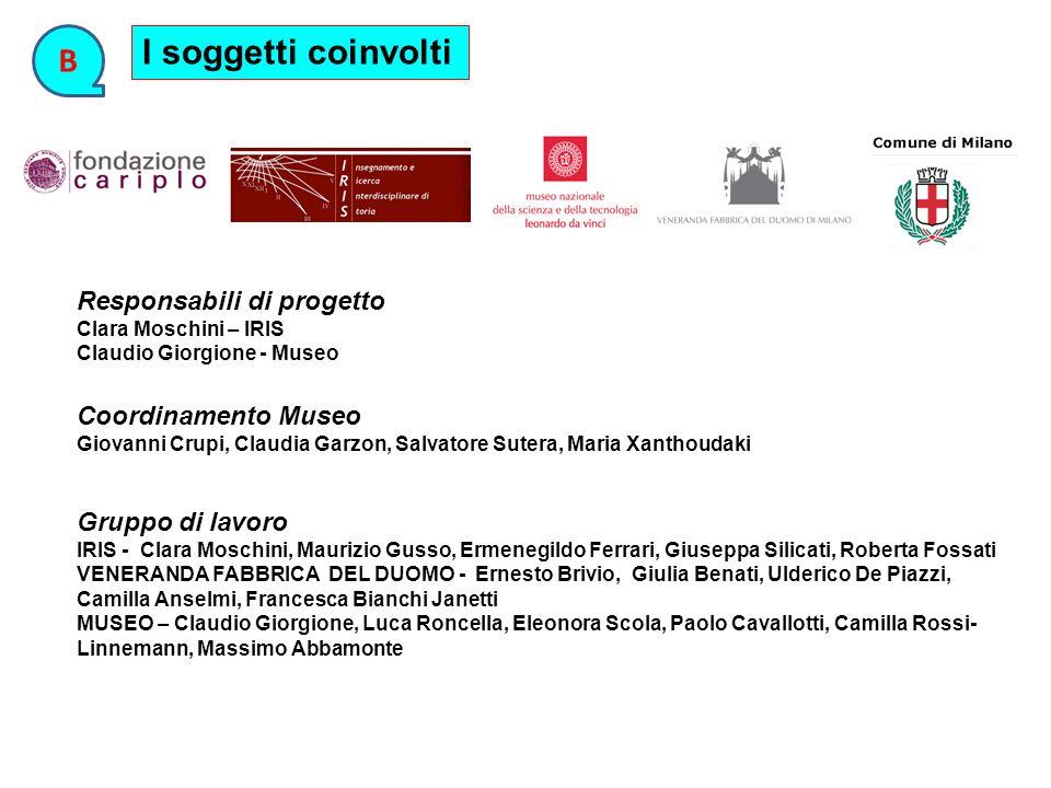 I soggetti coinvolti B Responsabili di progetto Coordinamento Museo