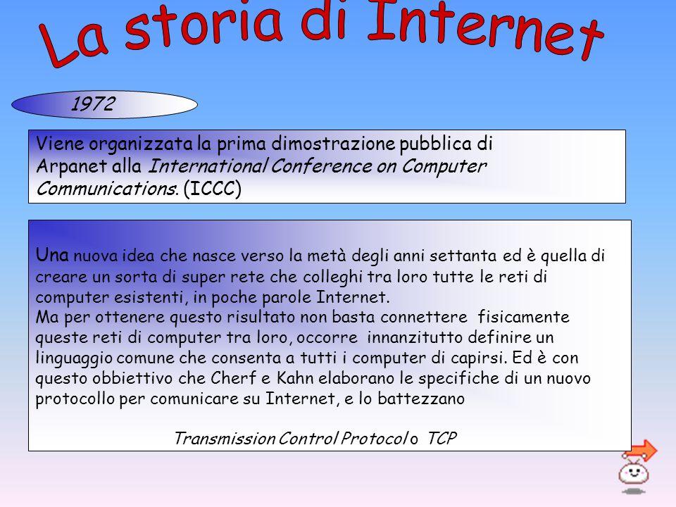 La storia di Internet 1972. Viene organizzata la prima dimostrazione pubblica di. Arpanet alla International Conference on Computer.
